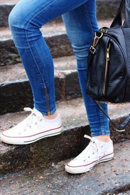 jeans azul com all star converse