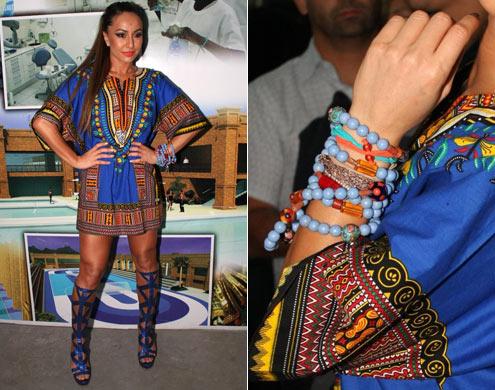 sabrina sato usando vestido etnico