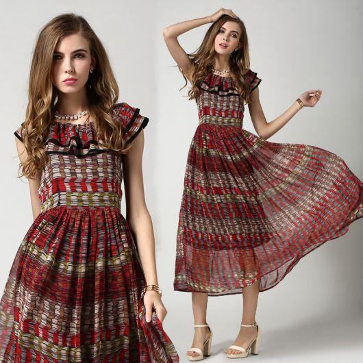 vestido etnico saia drapeada