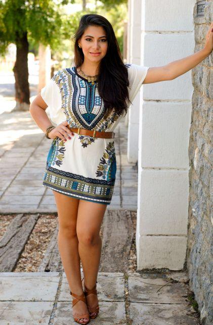 montar look com vestido etnico e cinto