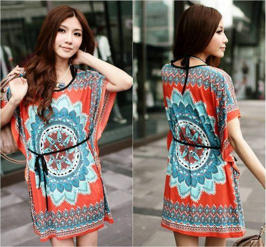 vestido indiano com estampa mandala