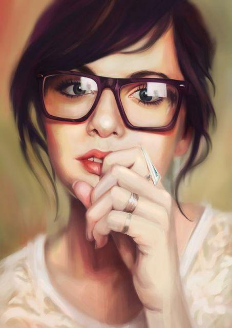 exemplo óculos de grau em rosto redondo morena