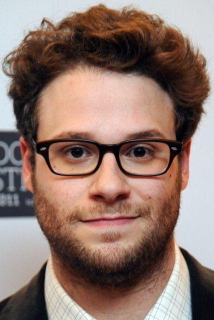 exemplo de óculos de grau para rosto redondo em homens seth rogen
