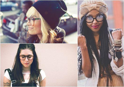 exemplo de óculos de grau em loira, morena e afrodescendente