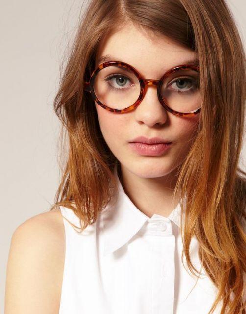óculos geek marrom charmoso
