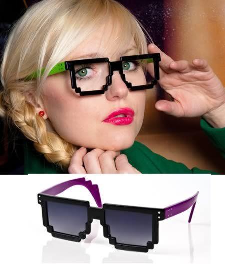 óculos geek imitando pixels