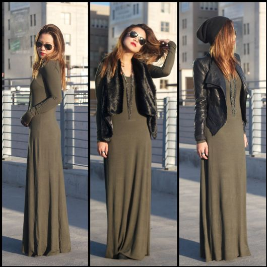 vestido marrom longo com blazer preto