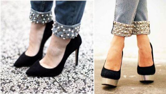 como customizar calça jeans exemplo barra de calça spikes