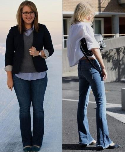 duas calças flare jeans com sapatilha