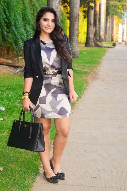 Vestido estampado geométrico - Look chic