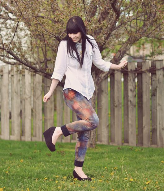 como customizar calça jeans exemplo tie dye galaxy