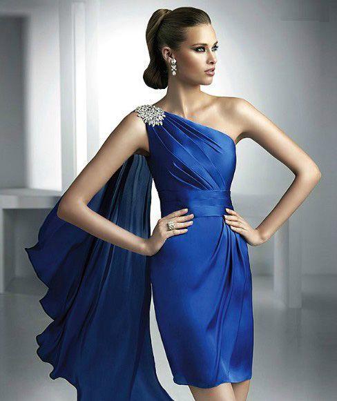 Vestido azul curto formatura