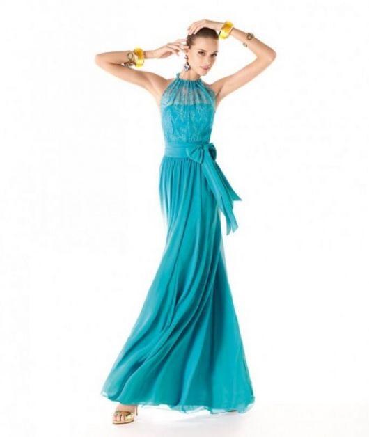Vestido de formatura azul com laço lateral