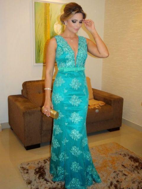 Maquiagem para vestido azul tiffany