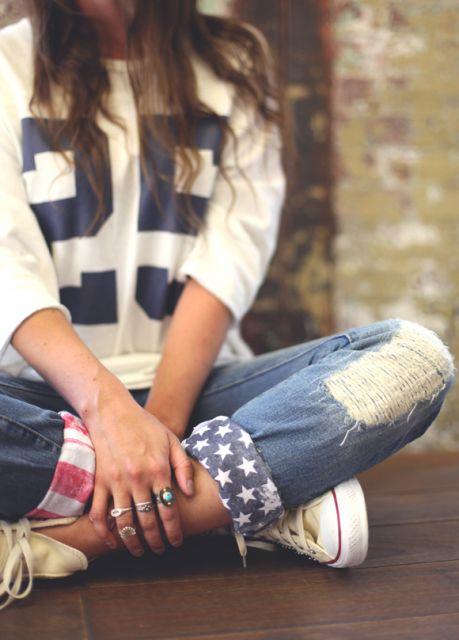 como customizar calça jeans exemplo barra de calça bandana americana