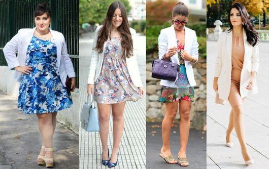 vestidos coloridos com blazer branco