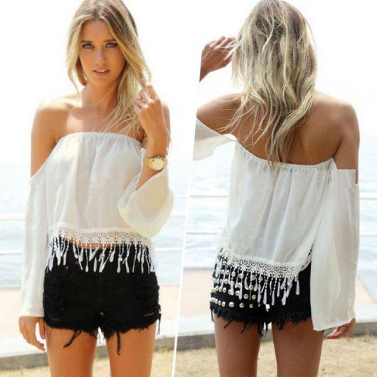 ideias para vestir blusa de franja