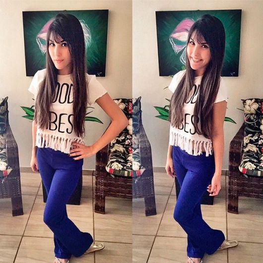 blusa de franja com calça pantalona