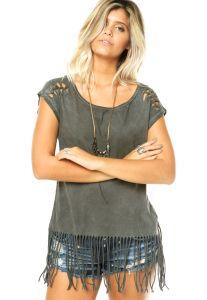 blusa de franja com short