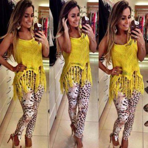blusa de franja com legging leopardo