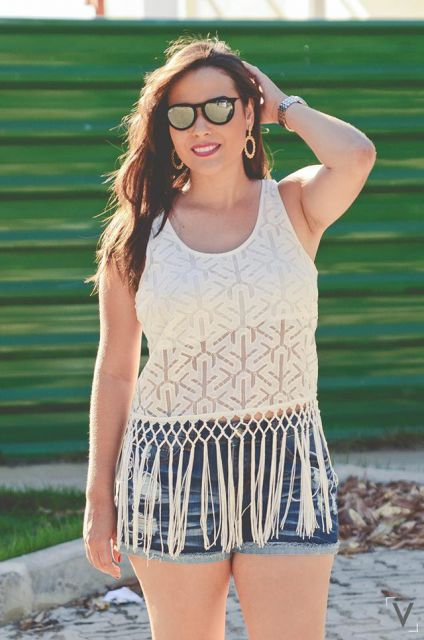 blusa de franja para look dia basico