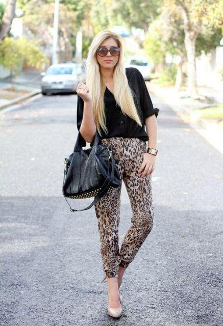 blusa social feminina com calça de onça