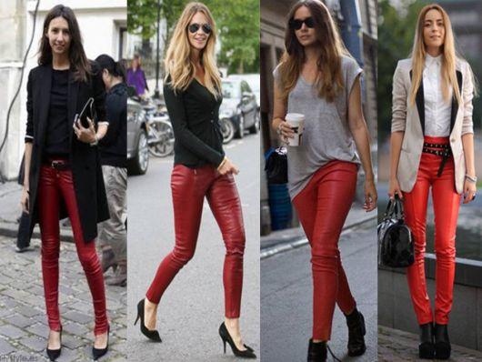 calça couro vermelho na moda inverno