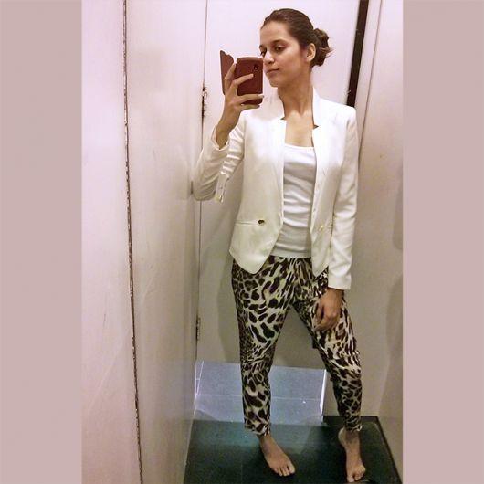 calça onça com terninho branco