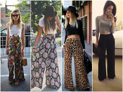 Calça pantalona com estampas variadas