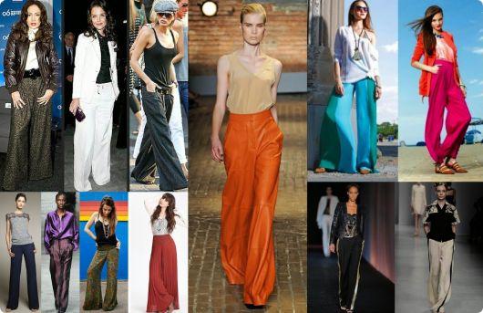 Calças pantalonas de cores e padrões diversos