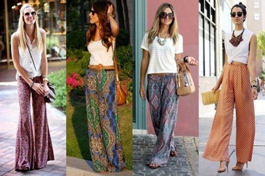 Calças pantalons em diversas estampas