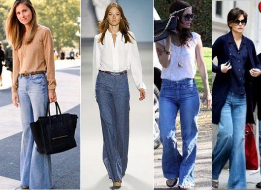 Calças pantalonas jeans estilo bem jovens
