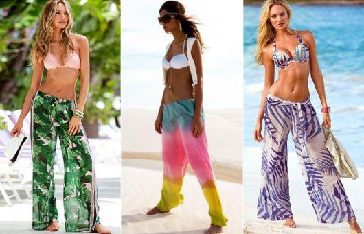calça estampada para a praia