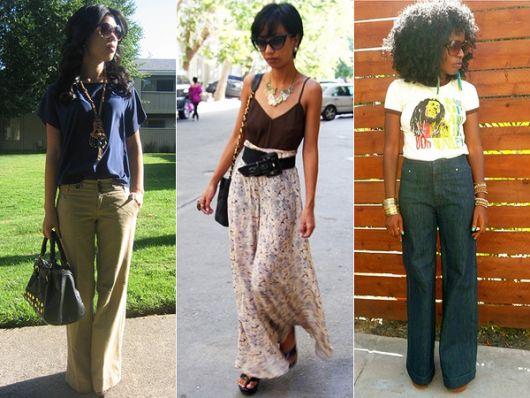Calças Pantalonas cores e padrões diferentes