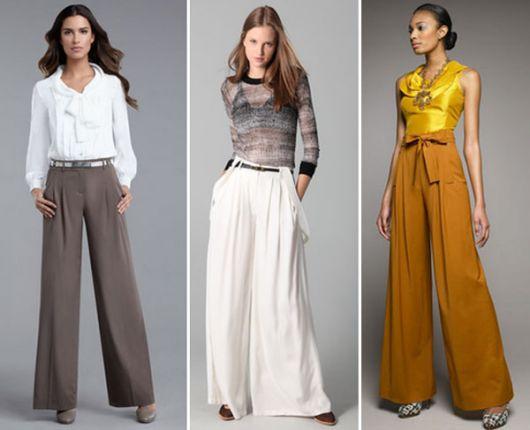 Calças pantalonas de cores variadas
