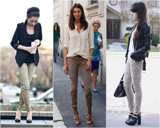 calça feminina skinny estampa animal print