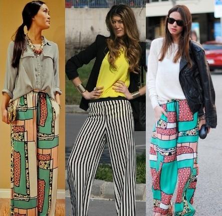 Calça pantalona vários padrões