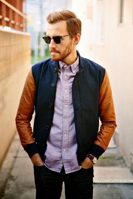 camiseta social basica com jaqueta college colorida