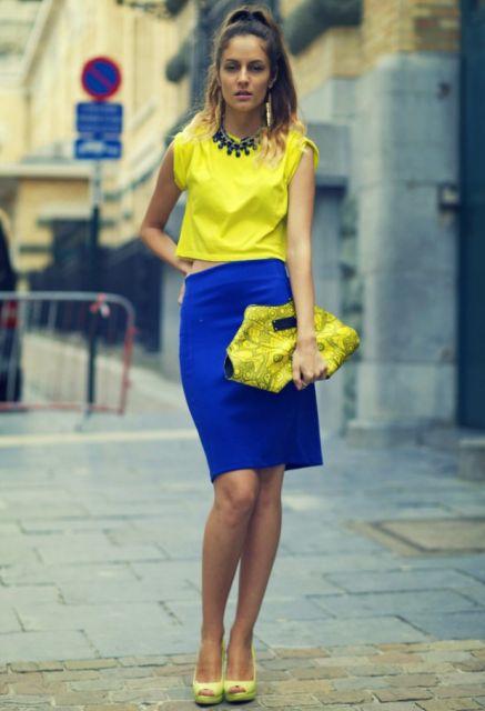 exemplo de color block amarelo+azul