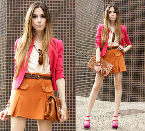look color block rosa e laranja
