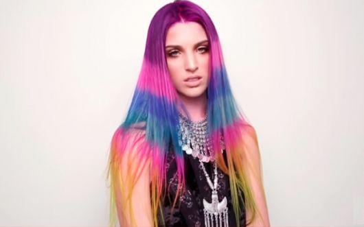 cabelo color block várias cores
