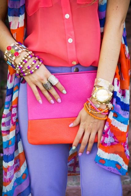 look color block com bolsa