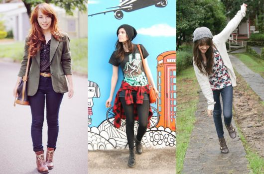 calça jeans e coturno marrom