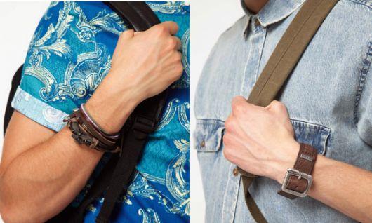 como combinar pulseira de couro