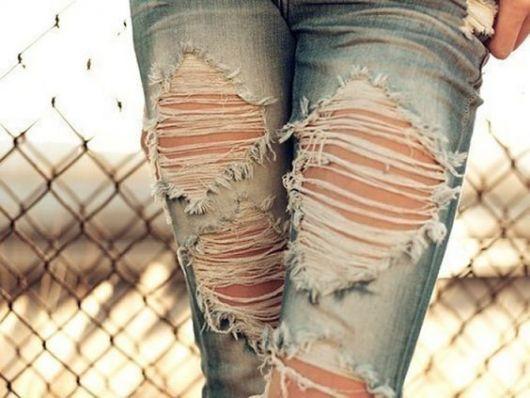 como customizar calça jeans exemplo shredded