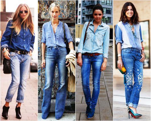look jeans com diversos tipos de sapatos