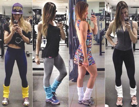 polaina colorida com legging na academia