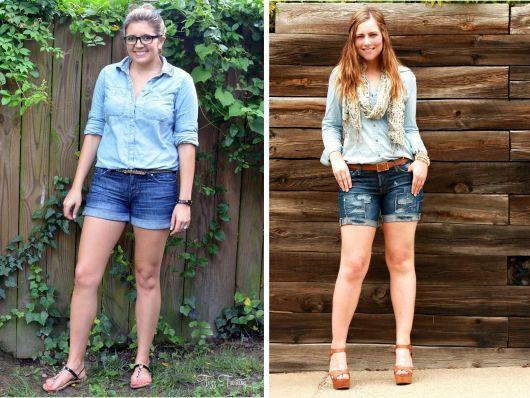short jeans curto com blusa jeans