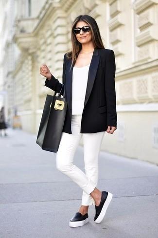 terno preto com calça branca look feminino