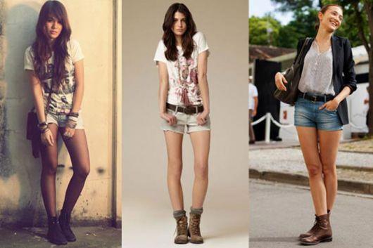 short jeans com coturno marrom